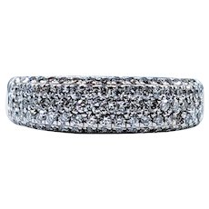 Sparkling Pave-Set Diamond and White Gold Ring
