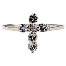 Lovely Solid Gold and Diamond Cross Ring