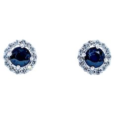 Classic Sapphire and Diamond Halo Stud Earrings
