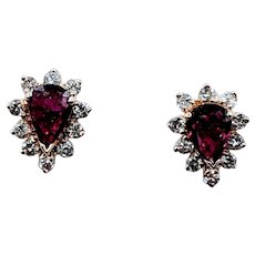 Gorgeous Ruby & Diamond Halo Earrings