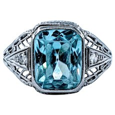 Rare Art Deco Blue Zircon and Diamond Ring