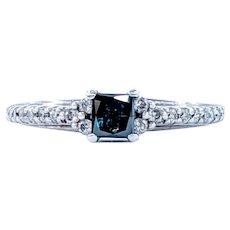 Elegant Princess Cut Blue Diamond Engagement Ring