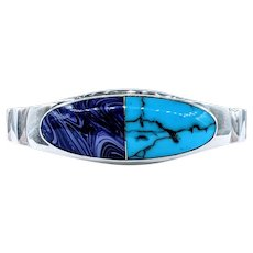 Mexico Sterling Silver & Inlaid Stone Bracelet