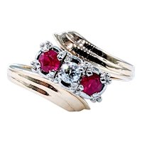 Beautiful Retro Diamond and Ruby Ring