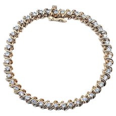 Gorgeous 2 Carat Diamond and Yellow Gold Bracelet