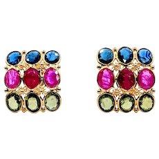 Fabulous Ruby, Sapphire & Peridot Earrings