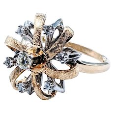 Cheerful Diamond and Yellow Gold Bow Ring