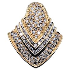 Flashing Diamond and 18K Yellow Gold Shield Pendant