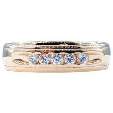 Modern Gold and 5-Stone Diamond Ring