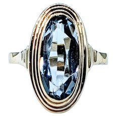 Fabulous Retro Gold and Blue Topaz Cocktail Ring