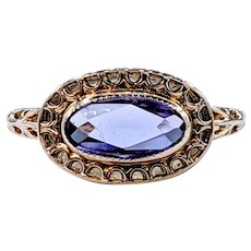 Unique Amethyst & Solid Gold Ring