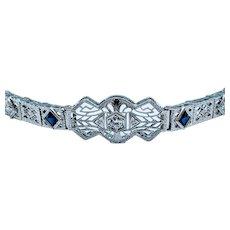 Art Deco Platinum Sapphire & Diamond Bracelet