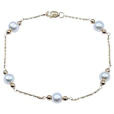 Delicate Cultured Peal and 14K Gold Station Bracelet