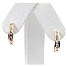 Brushed Gold & Channel Set Diamond Earrings