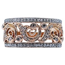 Beautiful Scrolling Pattern Gold and Diamond Cocktail Ring