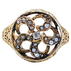 Antique Diamond and Seed Pearl Cocktail Ring