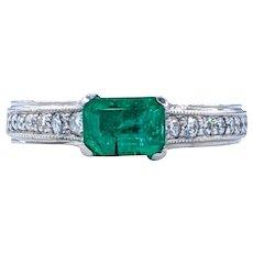 Beautiful Emerald, Diamond & Palladium Ring