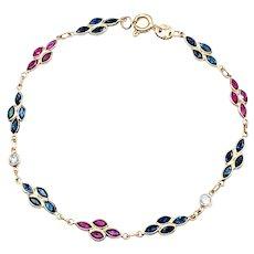 Delicate 18K Ruby, Sapphire & Diamond Bracelet