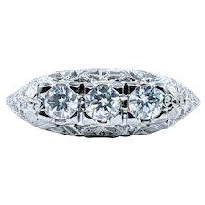 Stunning Art Deco Three Stone Diamond Ring