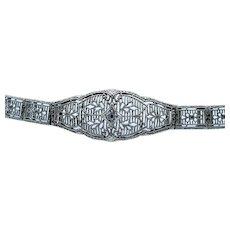 Charming Art Deco Diamond Filigree Bracelet