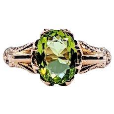 Glimmering Peridot & 18K Gold Dress Ring
