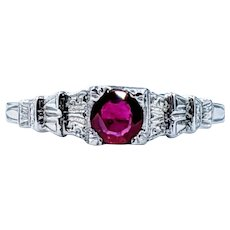 Refined Art Deco Ruby & 18K Solitaire Ring