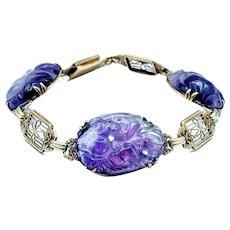 Stunning Art Deco Carved Amethyst Link Bracelet