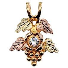 Artistic Black Hills Gold & Diamond Pendant