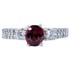 Radiant Rhodolite Garnet & Diamond Ring