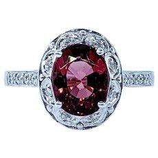 Stunning Raspberry Tourmaline and Diamond Ring