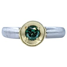 One of a Kind Teal Diamond, Platinum & 18K Ring