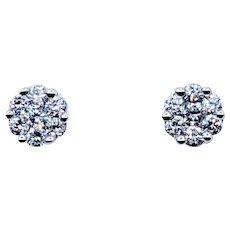 Simple Diamond Cluster Stud Earrings
