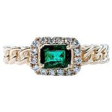 Unique & Stylish Emerald & Diamond Halo Ring