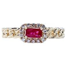 Unique & Stylish Ruby & Diamond Halo Ring