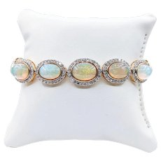Vivid & Colorful Ethiopian Opal & Diamond Bracelet