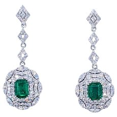 Spectacular Emerald & Diamond Drop Earrings