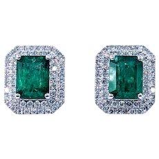 Magnificent Emerald & Diamond Halo Stud Earrings