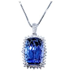 Excellent Tanzanite & Diamond Pendant Necklace
