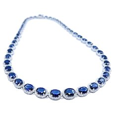 Superb Sapphire & Diamond Halo Riviere Necklace