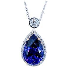 Unforgettable Tanzanite & Diamond Pendant Necklace
