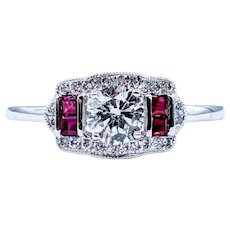 Amazing Art Deco Revival Diamond & Ruby Ring