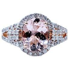 Delightful Morganite, Diamond & Rose Gold Cocktail Ring