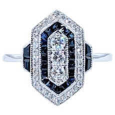 Fabulous Art Deco Revival Sapphire & Diamond Ring