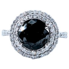 3+ Carat Black Diamond Halo Cocktail Ring