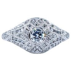 Elegant Art Deco Revival Diamond & Platinum Ring