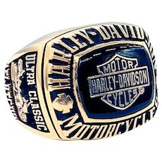 Heavy Solid 14K Gold Harley Davidson Collector's Ring