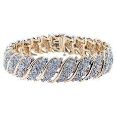 Glittering Diamond & Solid Gold Link Bracelet