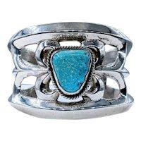 Vintage Navajo Turquoise & Sterling Silver Cuff Bracelet