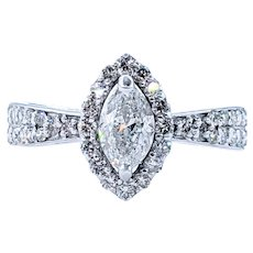 Beautiful Marquise-Cut Diamond Halo Engagement Ring