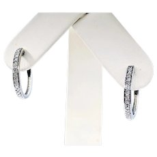 Classic Diamond Hoop Earrings in White Gold